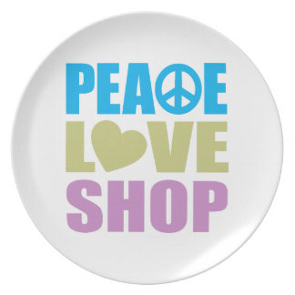 Tienda del amor de la paz plato para fiesta
