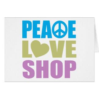 Tienda del amor de la paz tarjeta de felicitación