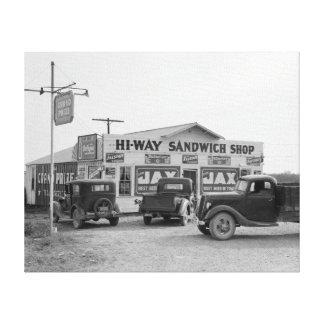 Tienda del bocadillo de la carretera, 1939 impresion de lienzo