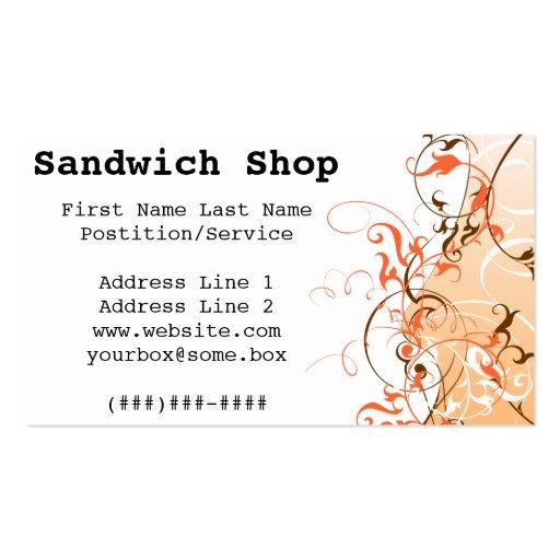 Tienda del bocadillo tarjeta de visita
