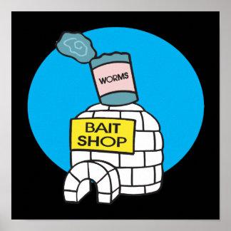 Tienda del cebo de pesca del hielo poster