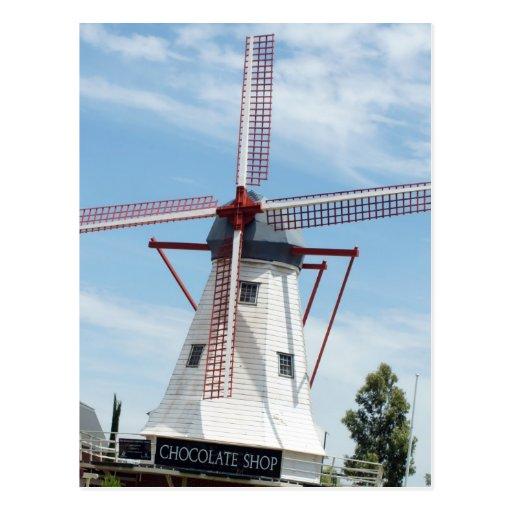Tienda del chocolate del molino de viento tarjetas postales