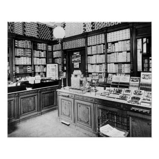 Tienda del cigarro, 1895. Foto del vintage Póster