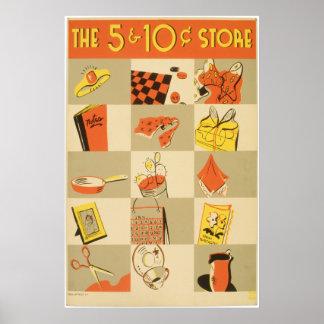 Tienda del níquel y de moneda de diez centavos póster