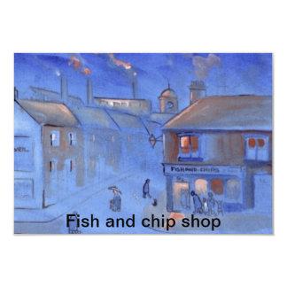 """Tienda del pescado frito con patatas fritas invitación 3.5"""" x 5"""""""