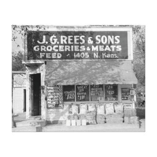 Tienda del ultramarinos y de la alimentación, 1938 impresión en lienzo estirada