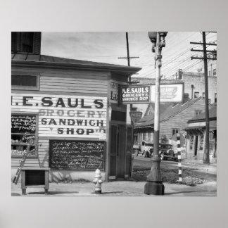 Tienda del ultramarinos y del bocadillo, 1934. póster