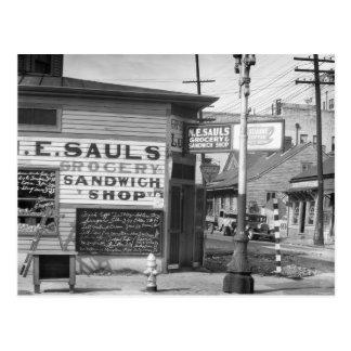 Tienda del ultramarinos y del bocadillo, 1934 postal