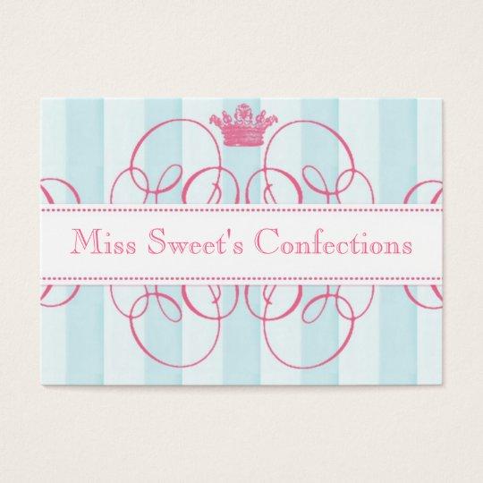 Tienda dulce de la corona rosada grande tarjetas de visita grandes