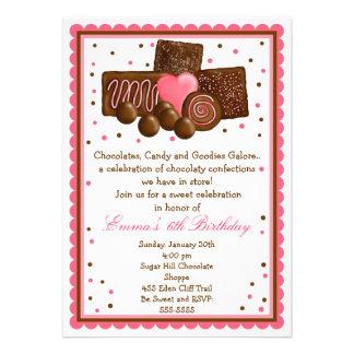 Tienda dulce Inivtations del chocolate