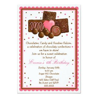 Tienda dulce Inivtations del chocolate Invitaciones Personalizada
