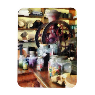 Tienda general con los tarros del caramelo imán foto rectangular