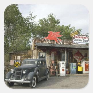 Tienda general de la ruta 66 y gasolinera pegatina cuadrada