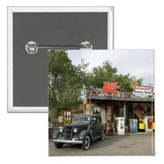 Tienda general de la ruta 66 y gasolinera pin cuadrado