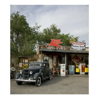 Tienda general de la ruta 66 y gasolinera póster