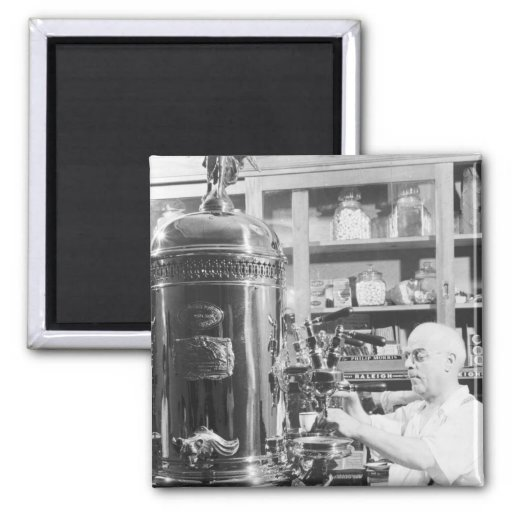 Tienda italiana del café express del vintage de imán cuadrado