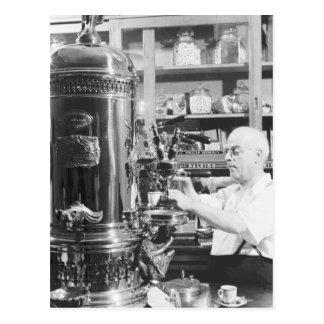 Tienda italiana del café express del vintage de tarjetas postales