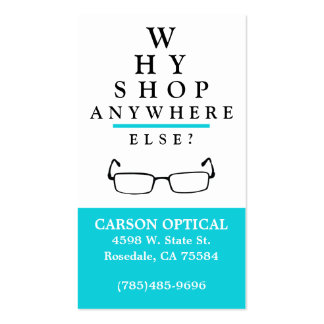 Tienda óptica tarjetas de visita