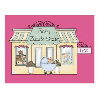Tienda rosada del bebé - modificada para tarjetas postales