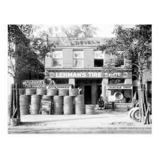 Tienda temprana del neumático, 1921 tarjetas postales