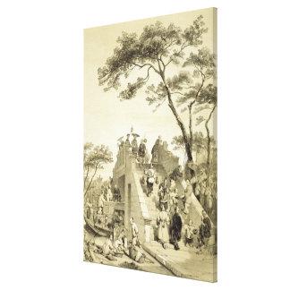 Tienda un puente sobre cerca de cantón, platee 30  impresiones en lienzo estiradas