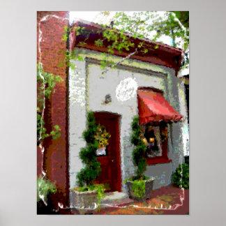 Tienda vieja de la pequeña ciudad impresiones