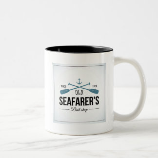Tienda vieja del cebo de los navegantes taza de dos tonos