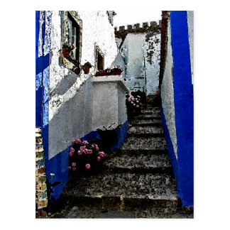 Tienda y pasos en Obidos Portugal Postales