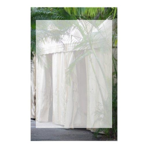 tiendas blancas detrás del safari de las frondas d  papeleria de diseño