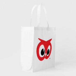 Tiendas de alimentación rojas del búho - bolso de  bolsa reutilizable
