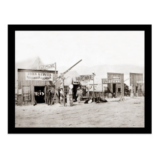 Tiendas de la ciudad de la frontera del vintage postal