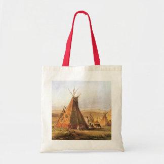 Tiendas de los indios norteamericanos en el llano bolsa tela barata