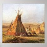 Tiendas de los indios norteamericanos en el llano impresiones