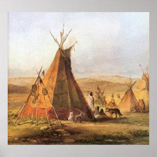 Tiendas de los indios norteamericanos en el llano póster