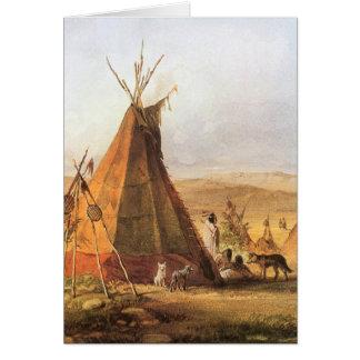 Tiendas de los indios norteamericanos en el llano tarjeta de felicitación