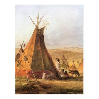 Tiendas de los indios norteamericanos en el llano tarjeta postal