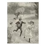 Tiene que correr, la imagen antigua postal
