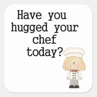 Tiene usted abrazado su cocinero (de sexo pegatina cuadrada