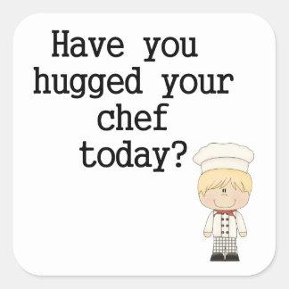 Tiene usted abrazado su cocinero (el varón) pegatina cuadrada