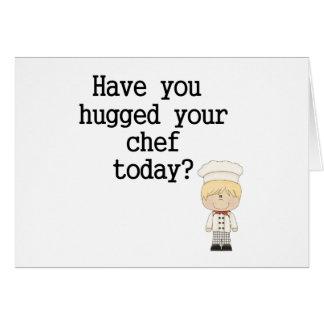Tiene usted abrazado su cocinero (el varón) tarjeton