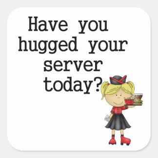 Tiene usted abrazado su servidor pegatina cuadrada