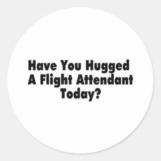 Tiene usted abrazado un asistente de vuelo hoy pegatina redonda