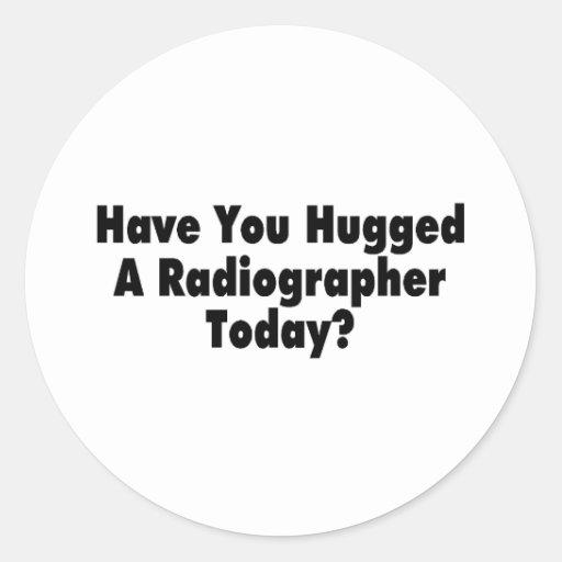 Tiene usted abrazado un ayudante radiólogo hoy pegatinas redondas