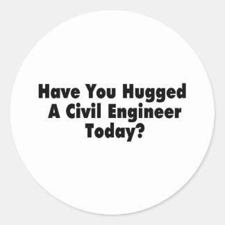 Tiene usted abrazado un ingeniero civil hoy pegatina redonda