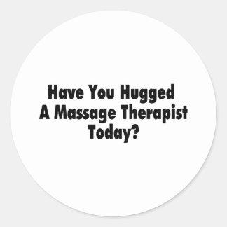 Tiene usted abrazado un terapeuta del masaje hoy pegatina redonda