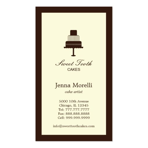 Tiered Cake Business Card Business Cards
