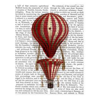Tiered Hot Air Balloon Print Red Postcard