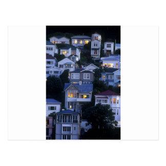 Tiered houses Oriental Bay Wellington Postcard