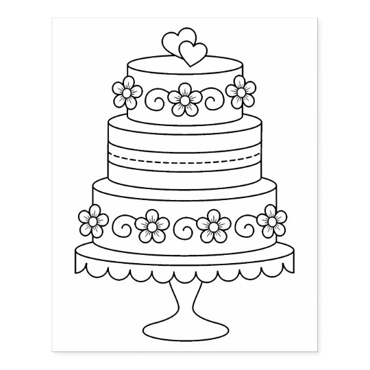 Tiered Wedding Cake Coloring Page Rubber Stamp | Zazzle.com