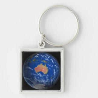 Tierra 2 del planeta llavero cuadrado plateado